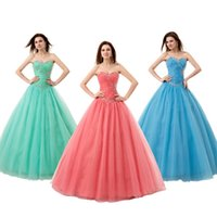 Wholesale Sweetheart Ball Gown Satin And Tulle Lace Up Back Quinceanera Dresses With Rhinestones Trimmed Neckline Beaded Prom Gowns