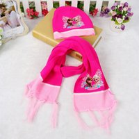 Wholesale 1set Cartoon Princess Elsa Anna Lovely Baby Girls Soft Knit Wool Hat Scarf Sets Children Gifts Colors For Choose