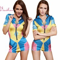 Wholesale Contrast Colour Jumpsuits For Women Short Sleeve Bodysuits with Zipper Sexy Club Wear Swimsuit Cloth Tight Teddies Sport Casual Style