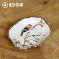 Wholesale Hand Painted Ceramic Soap Dish holder Bathroom accessories for Soap floral and birds pattern Dishes plate Original Chinese Art and Crafts