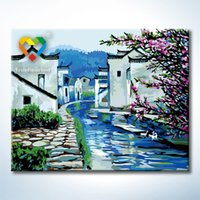 Wholesale Spring Jiangnan Watertown Wall Art DIY Painting Baby Toys x50cm Coloring Canvas Oil Painting Drawing Wall Art for Family Gift