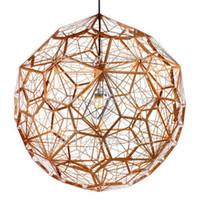 Wholesale Geometry Tom Dixon Etch Web Diamond Pendant Light Lamp Home Bar Decor Gold Silver LED Christmas Lighting Fixture