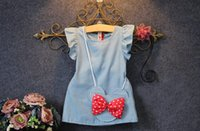 Wholesale 2016 Summer fly sleeve Denim vest Dresses Girls Sleeveless princess Dress with mickey cute bag Kids children clothes dress