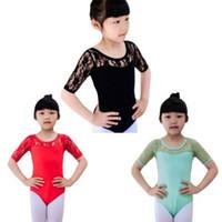Wholesale Kids Girls Ballet Half Lace Sleeve Dancewear Leotards Unitards Y Gymnastics
