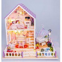 assemble furniture - Newest DIY Wood Doll House with Furniture Romantic Purple House Miniature Dollhouse Assembling Toys for Kid s Christmas Present