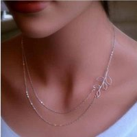 base metal chains - European and American trade fashion jewelry simple Tucson based metal leaves double short paragraph clavicle chain necklace S046