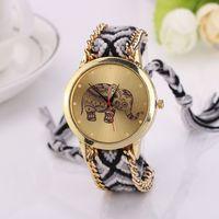 Wholesale New Fashion casual DIY Elephant Pattern Women Dress Watches National Weave Gold Bracelet montre femme Quartz Clock Relogio