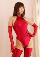 Wholesale Sexy High Cut Swimsuit Faux Leather Turtleneck Bodysuit One Piece Swimwear Night Club Dance Wear With Gloves Stocking Fx32