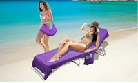 beach towel pocket - Microfiber Towel Lounger Bag Beach Towel Sun Lounger Bed Holiday Garden Lounge Pockets Carry Bag