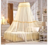 Wholesale Palace Princess Round Bed Nets Landing Domed Ceiling Mantle Lace Mosquito Net Mesh
