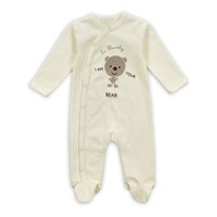 baby footies - 0 M So Lovely I m Your Bear Long Sleeves Spring Autumn Baby Clothing Beige Anmial Printed Side Open Cotton Baby Boy Baby Girl Footies