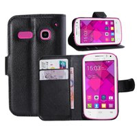 alcatel cellphone - For Alcatel pop C3 with Card Slots Holder Luxury Leather Cellphone Case Colorful PU Leather Wallet Flip Stand Pouch Card Defender Case