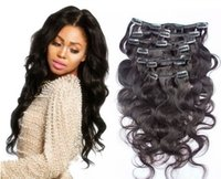 Wholesale Chinese Unprocessed Virgin Human Clip Hair Body Wave Long Pure Black High Quality female Fashion