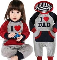 mam - 2015 Lovely I Love Mam Dad Baby Kids Girls Boys letter Jumpsuit Outfits Set One piece Hoodie pieces