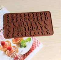 baking tray number - 10PCS English letters HAPPY BIRTHDAY numbers shape Silicone Chocolate Cookies Baking Mould Ice Cube Mold Tray cake decorating tools