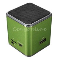 Wholesale MD07U Greem USB Mini Speaker Portable FM Sound Music Box Player Digital Amplifier Reader For PSP For Notebook Computer CD