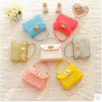 Wholesale 25 Colors Candy Kids Handbags Mini Women Messenger Bags Cute Jelly Children Bags Fashion Girls Cross Body NEW Summer Style Kids Wallet