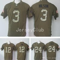 america services - Seahawks Russell Wilson Marshawn Lynch Fan Salute To Service Stitched Army Green Embroidery Logos America Football Jerseys Uniforms