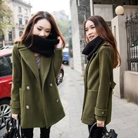 Wholesale 2016 New Winter Warm Trench Coat for Women Plus Size Woolen Long Coat for Women Casual Lady Overcoat Army Green Black Blue