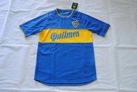 Wholesale Quality assurance Argentina Boca Juniors home bule men short soccer Jerseys uniforms Riquelme Walter Samuel Palermo
