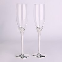 Wholesale 1 Heart shaped type of champagne glass goblet wedding wedding gift creative crystal flu Gift Set