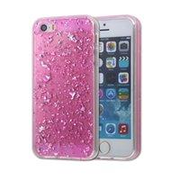 Caso para el iPhone 5 / 5s / SE TPU transparente 3D platino Bling Glitter fantasía brillante CoverSkin para iphone5 / 5S / SE Contraportada