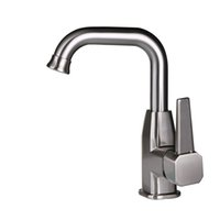 Wholesale Modern Style Brushed Nickel One Hole Single Handle Kitchen Faucet Solid Brass Rotable Water Mixer Tap