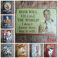 Wholesale 20X30CM Vintage Tin Signs Metal Wall Poster Shabby Chic Bar Club Decorative Metal Plate Beer Sign