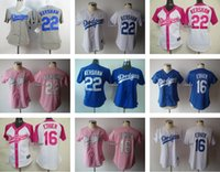 andre ethier - Women Clayton Kershaw Andre Ethier White Grey Blue Pink Women Baseball Jerseys Stitched Jersey Drop Shipping Top Quality