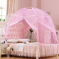 Wholesale New Arrival Summer Mongolian Yurt Mosquito Net Portable Bed Curtain Fine Mesh Mosquito Nets for Double Bed with Zipper Double Door JQ0043