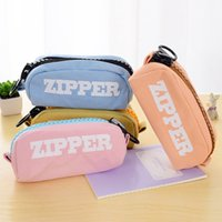 bd offices - School Pencil Bag pencil pouch zipper large capacity simple cosmetic bags Office stationery canvas pencil case BD