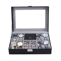 Wholesale High Quality PU Leather Grids Watch Display Box Case Jewelry Bracelet Storage Organizer Holder with A Key Pillows for Gift J1409
