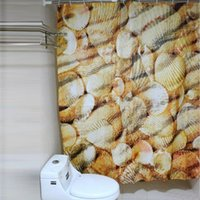 Wholesale 180 Beach Style Waterproof Fabric Bathroom Shower Curtain With Hooks
