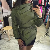belted short coat - 2016 Winter Down Coat Jacket Women Irrgeular High Collar With Belt Parkas For Women Winter Colors Jackets Warm Outerwear Coats FS0721