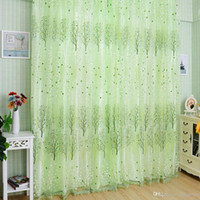 Wholesale 1Pc Fashion Green Pachira Offset Printing Window Tulle Door Curtain Panel Valances Syeer Sheer Curtains E00620 SPDH