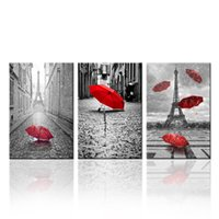 art wall street - Contemporary Wall Art Canvas Black and White Eiffel Tower with Red Unbrella on Paris Street Painting Romantic Picture Artwork Prints Canvas