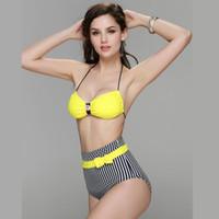 Wholesale Striped Bra Panties Set - 2016 New Fashion Bandage Women's Strappy Push Up Bikini Set Beachwear Bathing Suit Swimsuit Yellow Bra Striped Panties