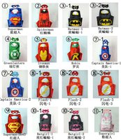 Wholesale 70 CM Double layer capes Kids Superhero Cape and mask Batman Ironman Ninja Turtles Spiderman Captain America kids capes with mask
