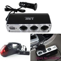Wholesale 12V Way Car Cigarette Lighter Power Spliter Sockets USB DC Adapter Charger Hot New