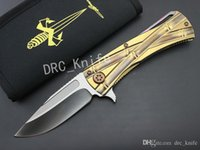 Wholesale 100 Genuine Limited Editon MICROTECH High end Folding Knife D2 Steel Blade Satin Finish Blade And Two tone Bronze Titanium Handle