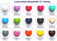 Wholesale Heart Chewable Beads Silicone DIY Loose Beads Pendant Bead Mommy Silicone Teething Necklace Beads Fits Baby Nursing Necklaces Bracelets