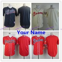 atlanta embroidery - cheap good quality MLB baseball Jerseys Atlanta Braves jerseys NO NUMBER NO MAME customized embroidery number name freeshipping