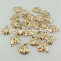 beach themes - 20347 KC Light Gold Alloy Ocean Beach Theme Round Sea Shell Conch Pendant