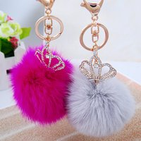 Wholesale Top Qualitu Fluffy Ball Keychains Cute Simulation Rabbit Fur Ball Key Chain For Car Key Ring Car Ornaments Bag Pendant key ring