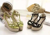 bedding suede - Women sandals suede bedding with imported wire with high slope cm spring waterproof women with T thick black and Green Shoes Sexy