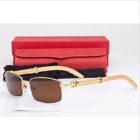 Wholesale Fashion Brand Designer Mens Wood Sunglasses High Quality Rectangle Lens Plain Mirror Glasses Silver Gold Buffalo Wood Frame Sunglasses