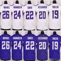 baseball captain - Men s Jersey Trae Waynes Captain Munnerlyn Harrison Smith Mackensie Alexander Adam Thielen Purple White Elite Jerse