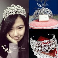 Wholesale Sparkle Beaded Crystals Wedding Crowns Bridal Crystal Tiara Crown Headband Hair Accessories Party Wedding Tiara