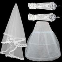 Cheap The new wedding dress lace veil   stretch satin gloves   net yarn panniers three - piece bridal accessories 04LYG