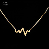 beat woman - Minimalism Jewelry Gold Plated Unique Fun Heart Beat Stainless Steel Charm Pendant Necklace For Women N120